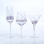 clear glass set with decal